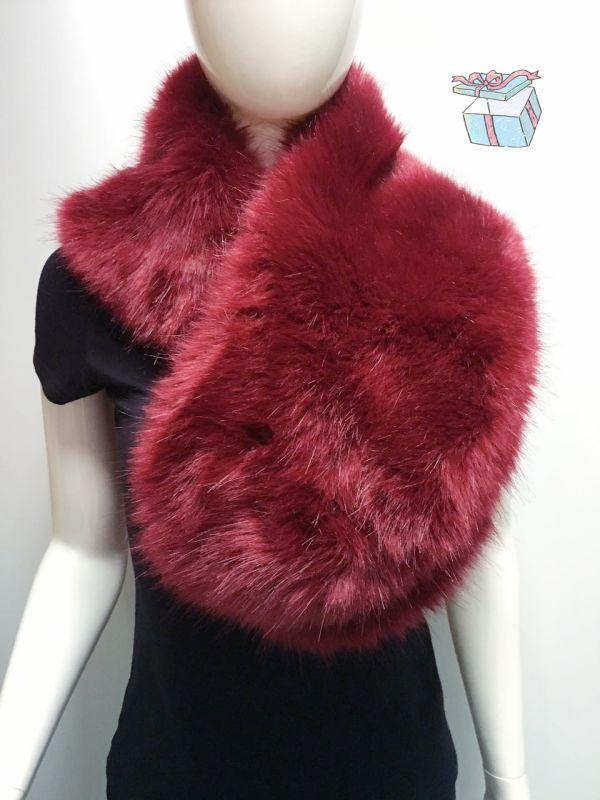 大红贵妇毛领围巾