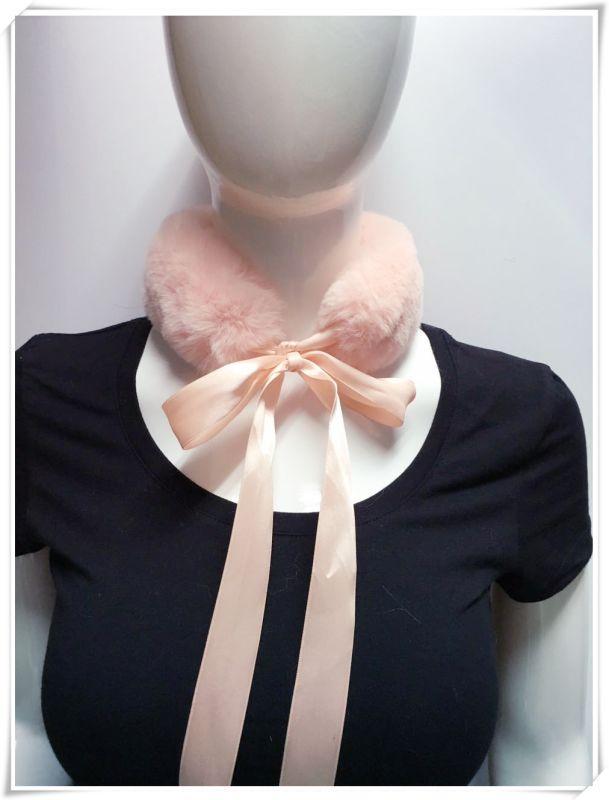 粉色丝带毛领围脖