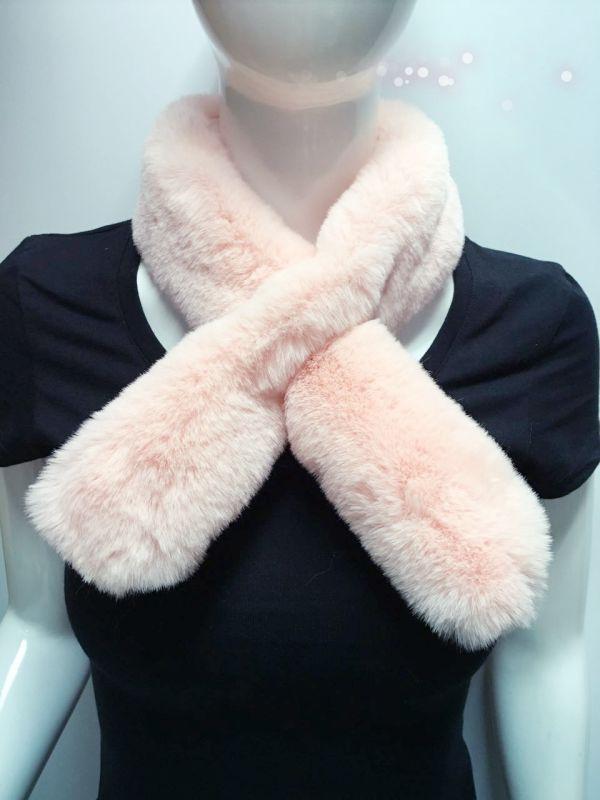 粉色少女毛领围脖