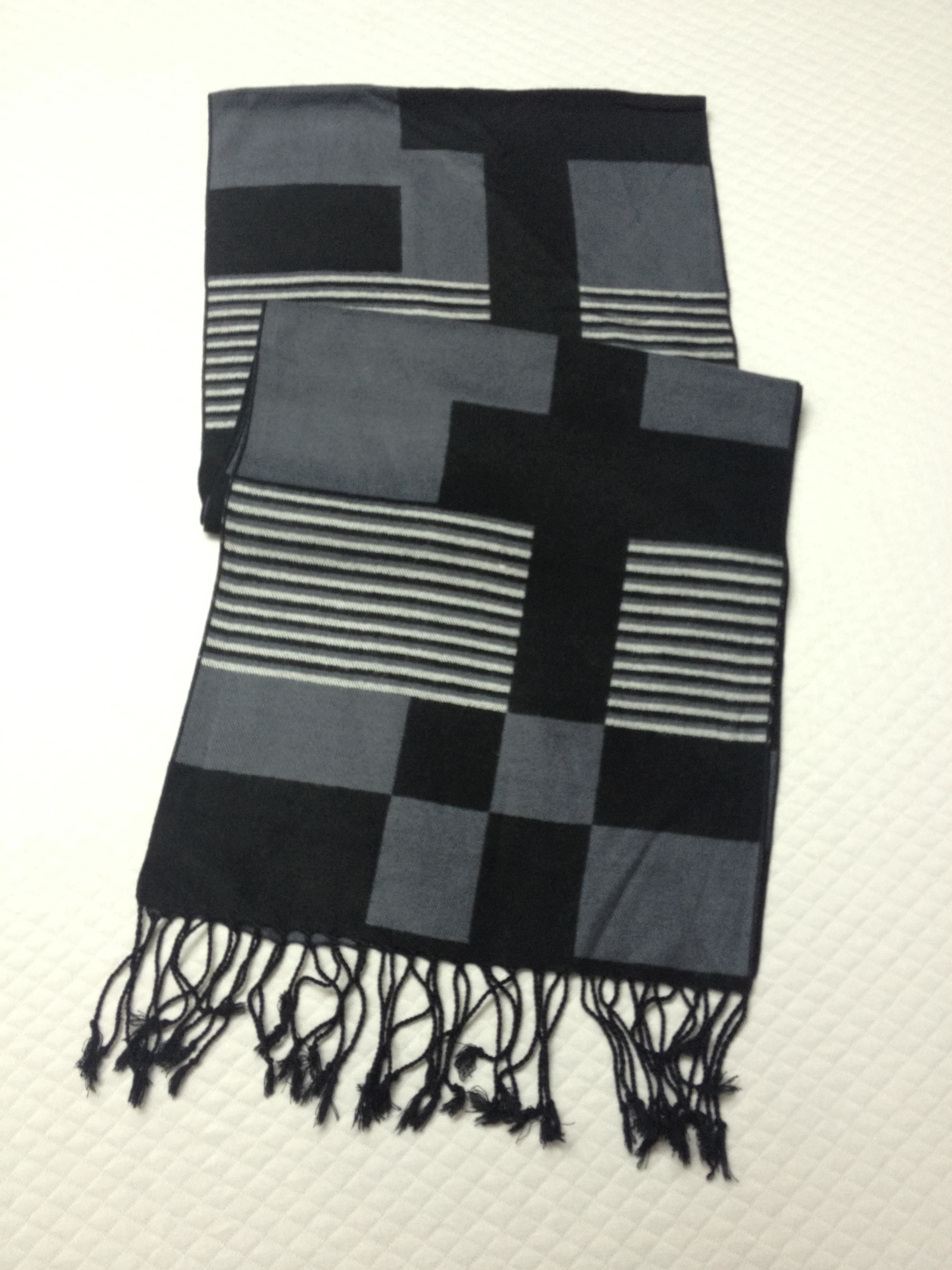 韩版格纹羊绒围巾