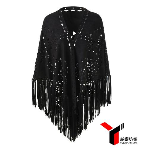腰果款新款麂皮绒披肩黑色系列