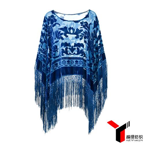 牡丹款新款烂花绒披肩蓝色系列