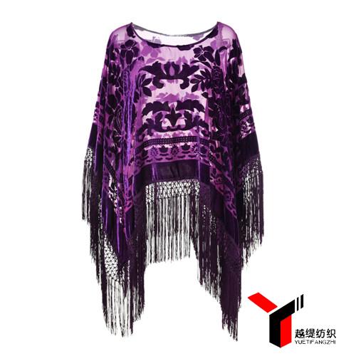 牡丹款新款烂花绒披肩紫色系列