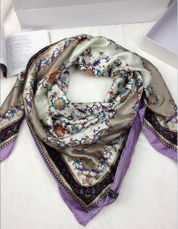 新款真丝方巾紫藤萝
