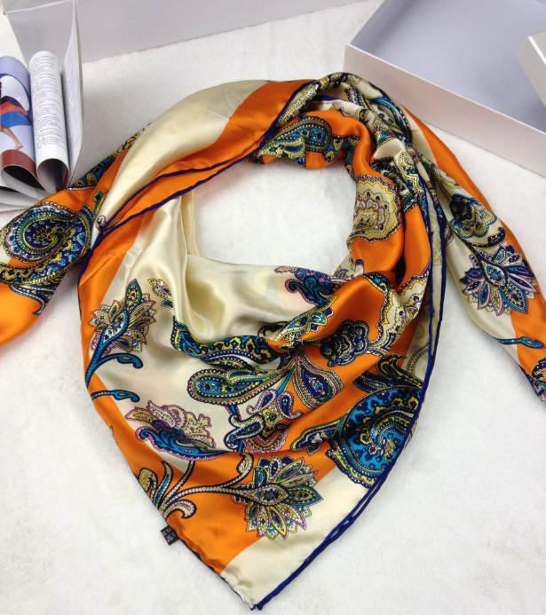 新款真丝方巾橘黄