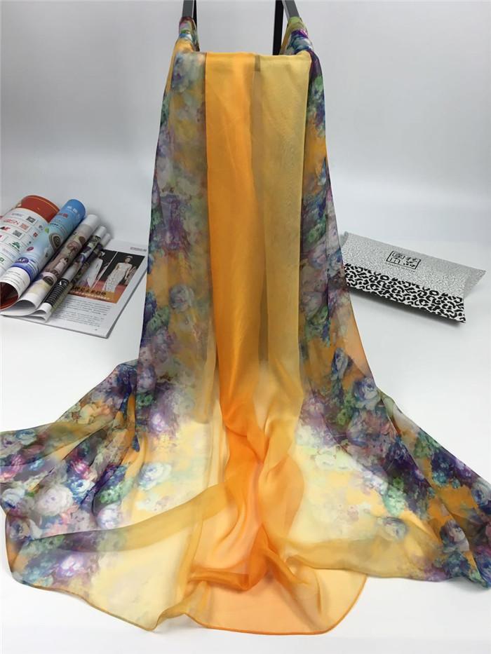 新款春暖花开系列女士仿真丝围巾橙色