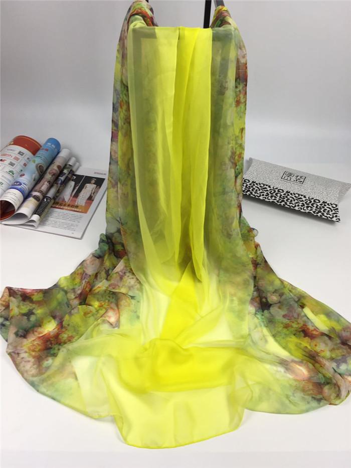 新款春暖花开系列女士仿真丝围巾黄绿色