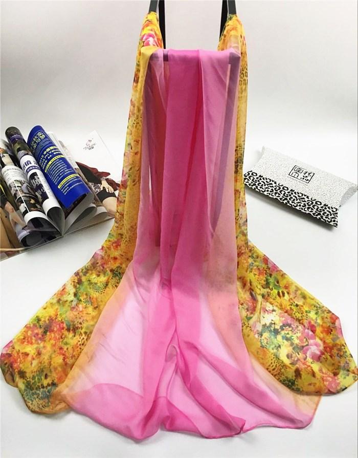 新款姹紫嫣红系列仿真丝围巾粉红