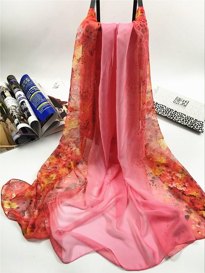 新款姹紫嫣红系列仿真丝围巾红色