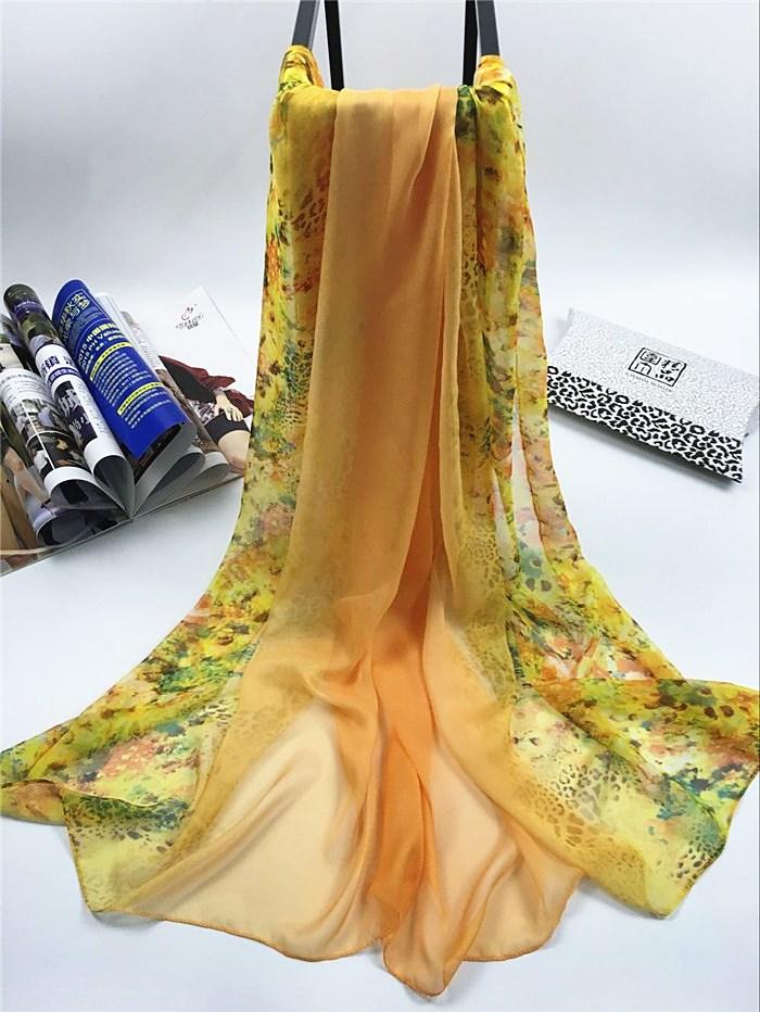 新款姹紫嫣红系列仿真丝围巾黄色