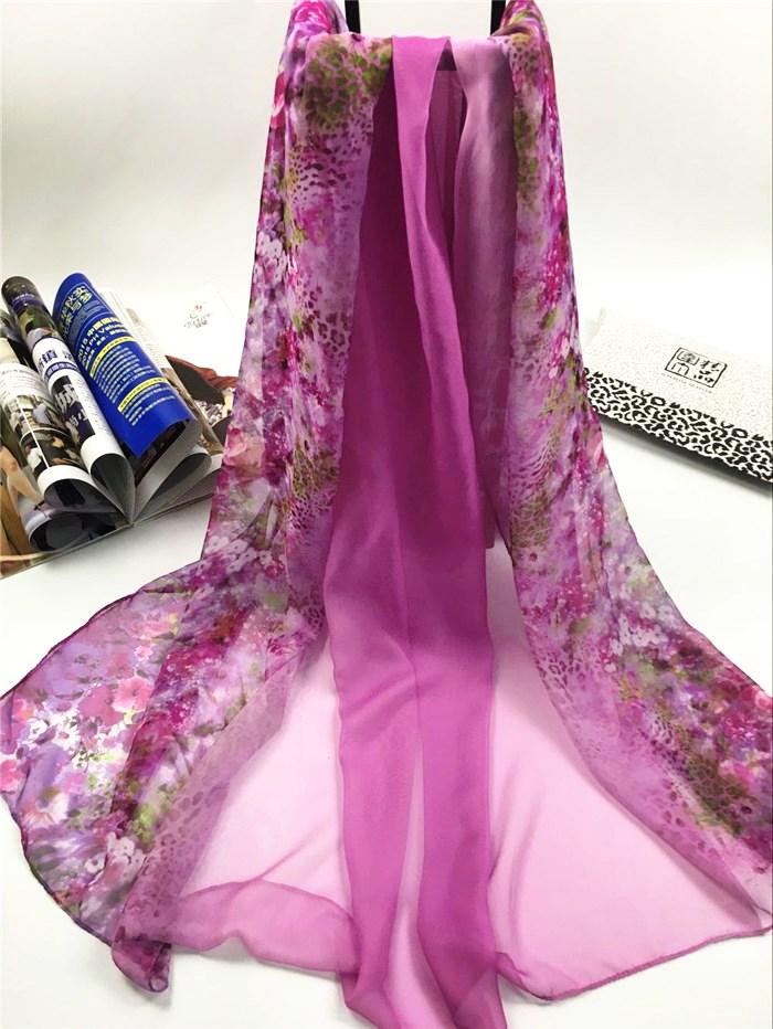 新款姹紫嫣红系列仿真丝围巾紫色
