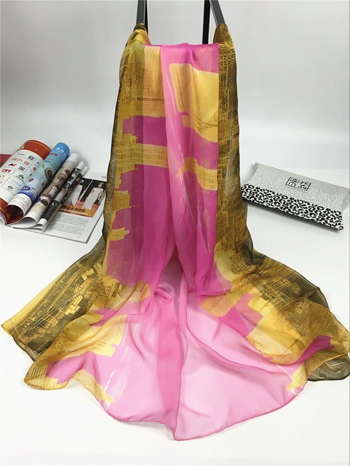 秋冬季威尼斯系列数码丝巾粉红
