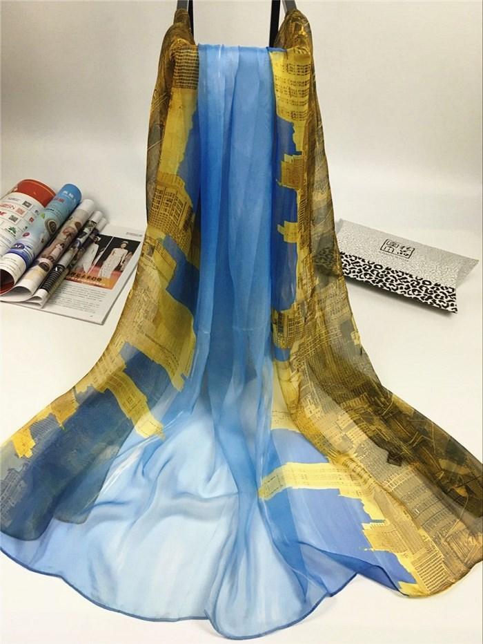 秋冬季威尼斯系列数码丝巾蓝色
