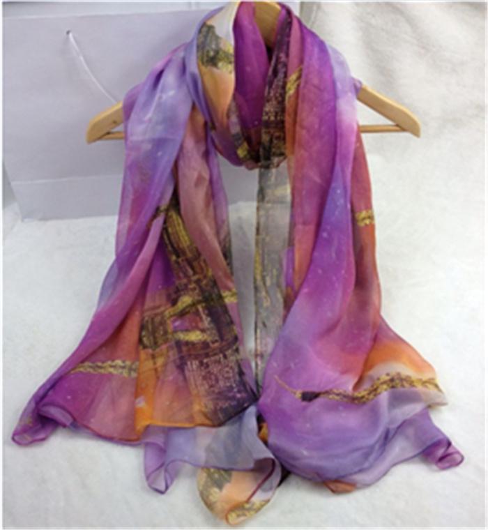 柔曼丝巴黎铁塔系列仿真丝围巾紫色