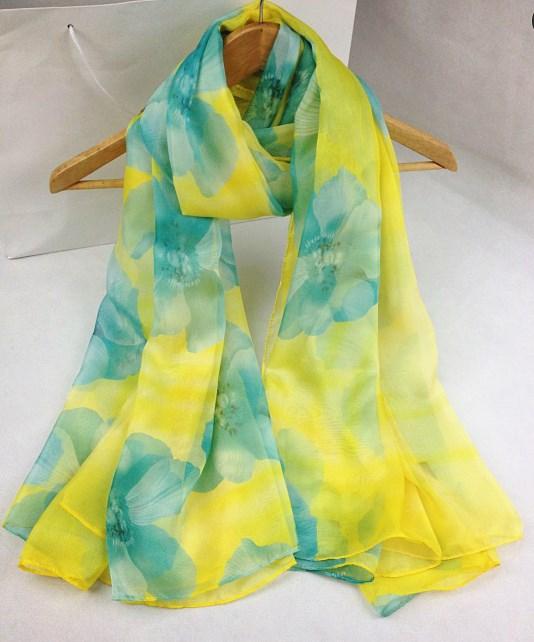 新款仿数码丝巾黄色