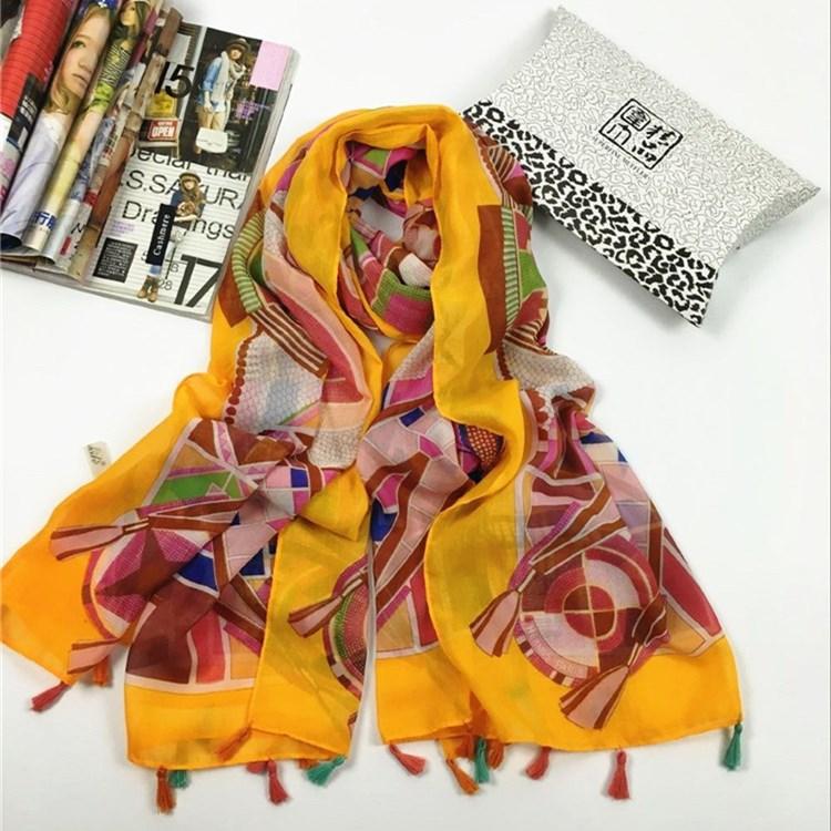 秋冬季韩国纱几何挂须巴厘纱围巾黄色