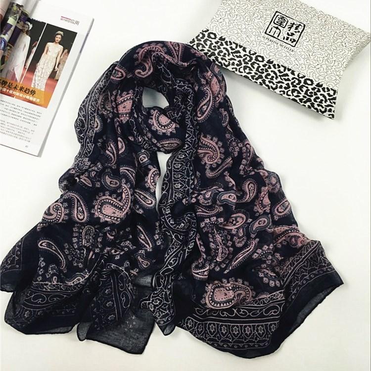 秋冬季民族风花纹款巴厘纱围巾紫色