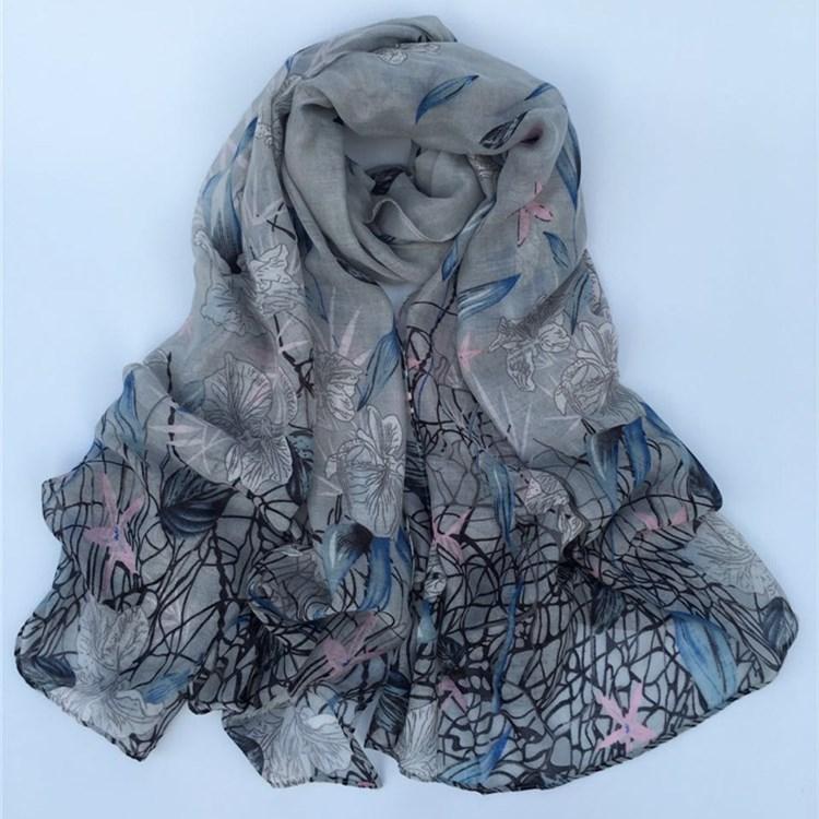 新款夏日荷花系列巴厘纱围巾