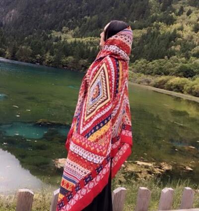 新款缎面斜纹巴厘纱围巾红色