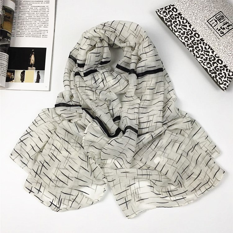 直条流星巴厘纱围巾灰白