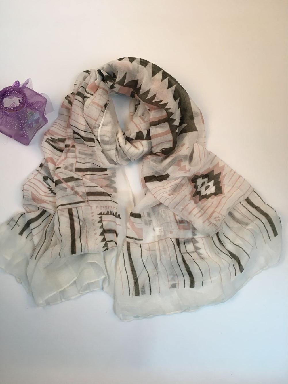 秋冬款几何图形巴厘纱围巾