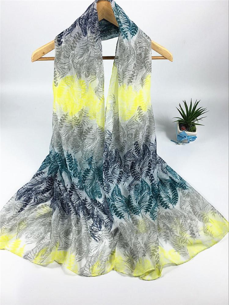 四色羽毛系列巴厘纱围巾