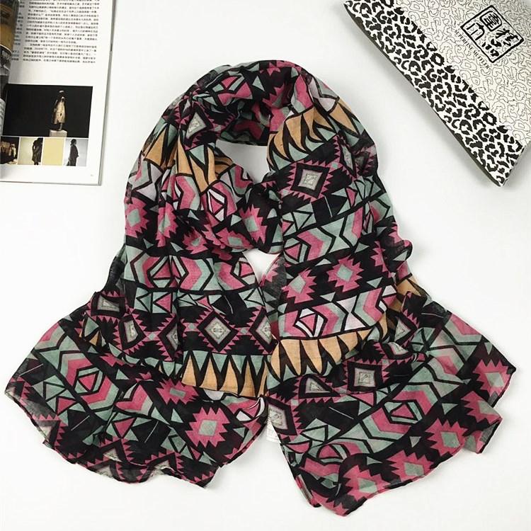 抽象巴厘纱围巾