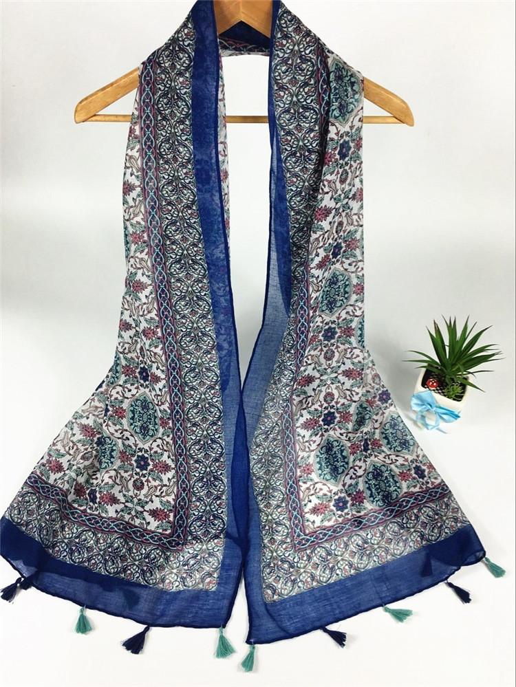 平网挂须巴厘纱围巾蓝色