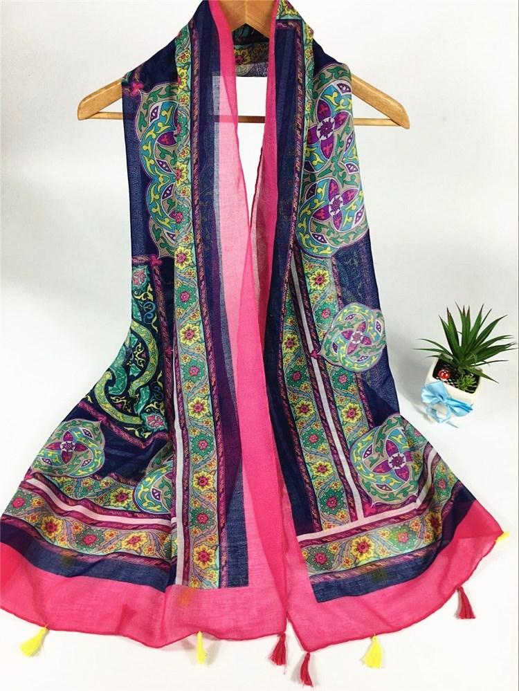 小菊花巴厘纱围巾