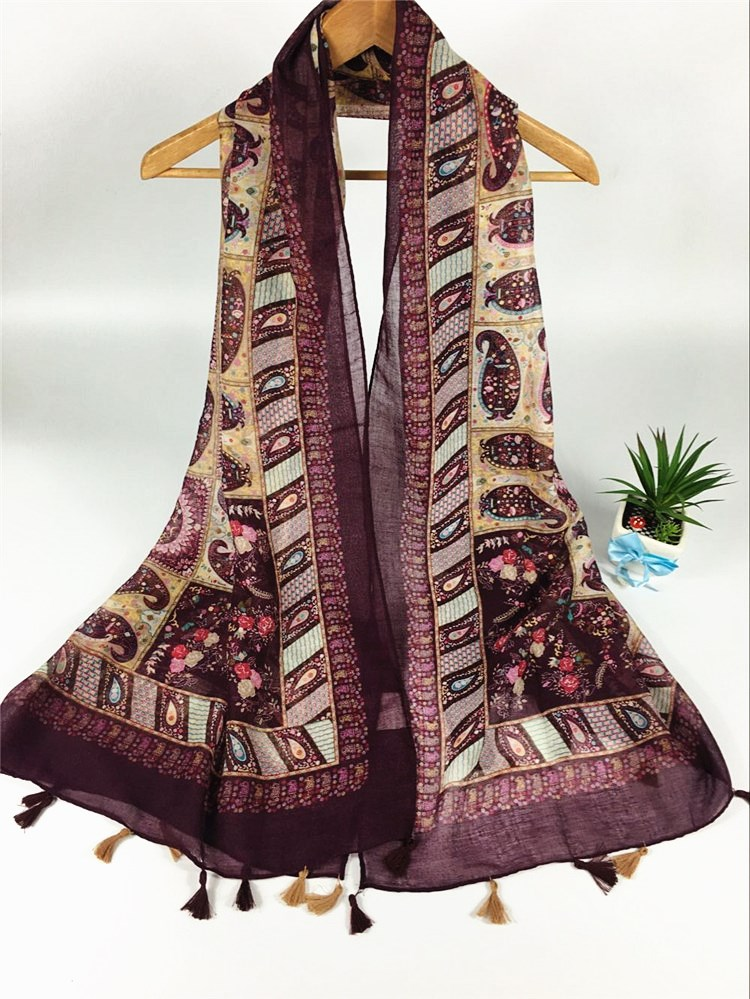 波西米亚巴厘纱围巾紫红