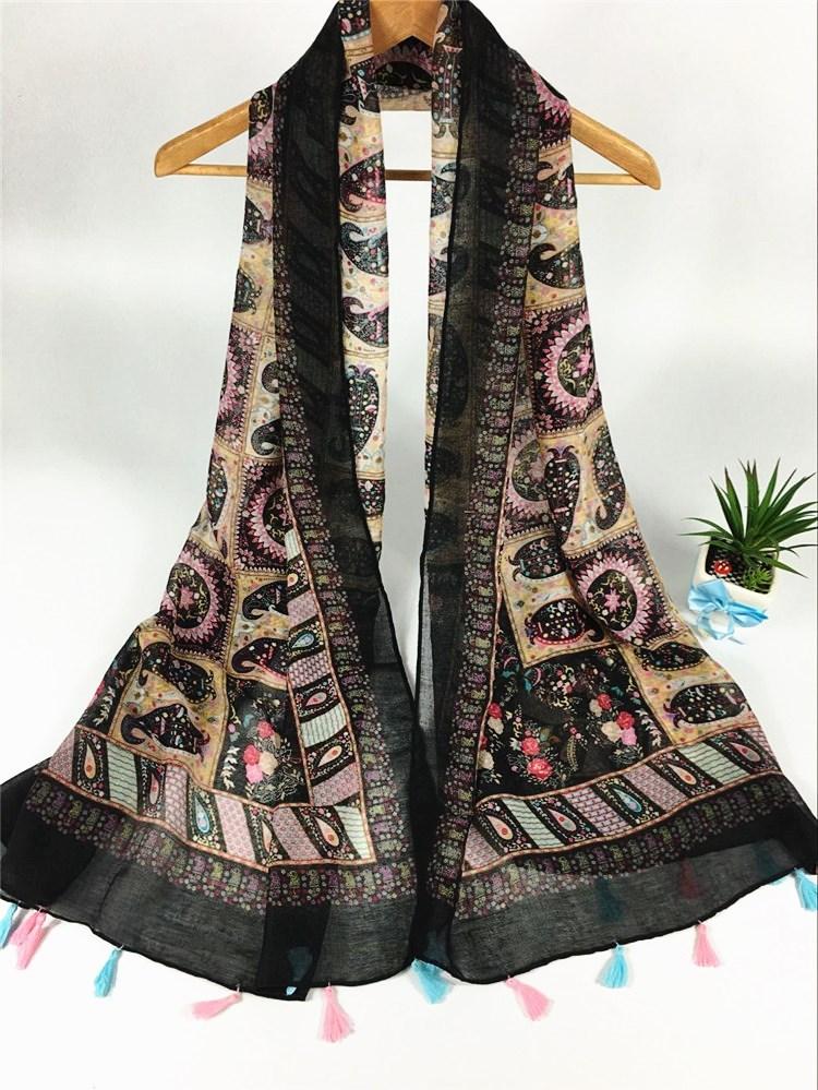 波西米亚巴厘纱围巾黑色