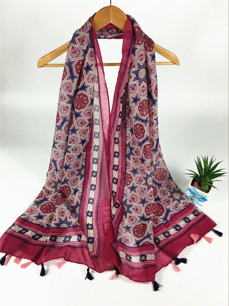 八角几何巴厘纱围巾