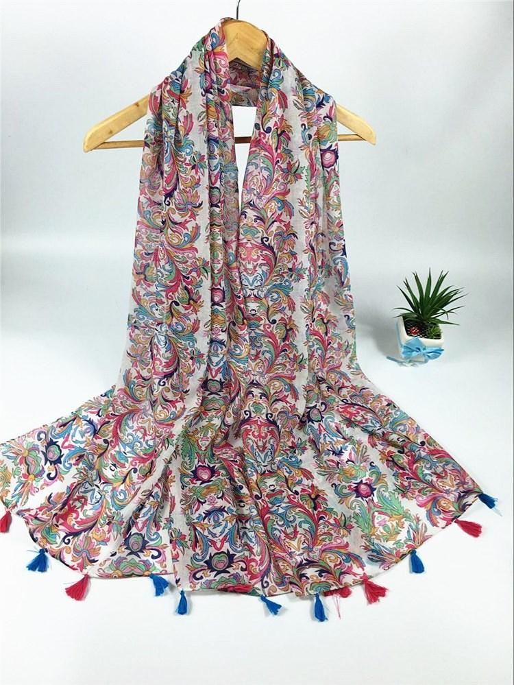 藏族风格巴厘纱挂须围巾
