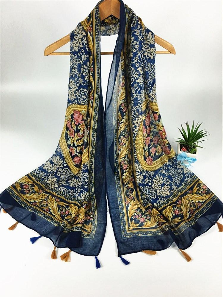 中国风挂须巴厘纱围巾蓝色