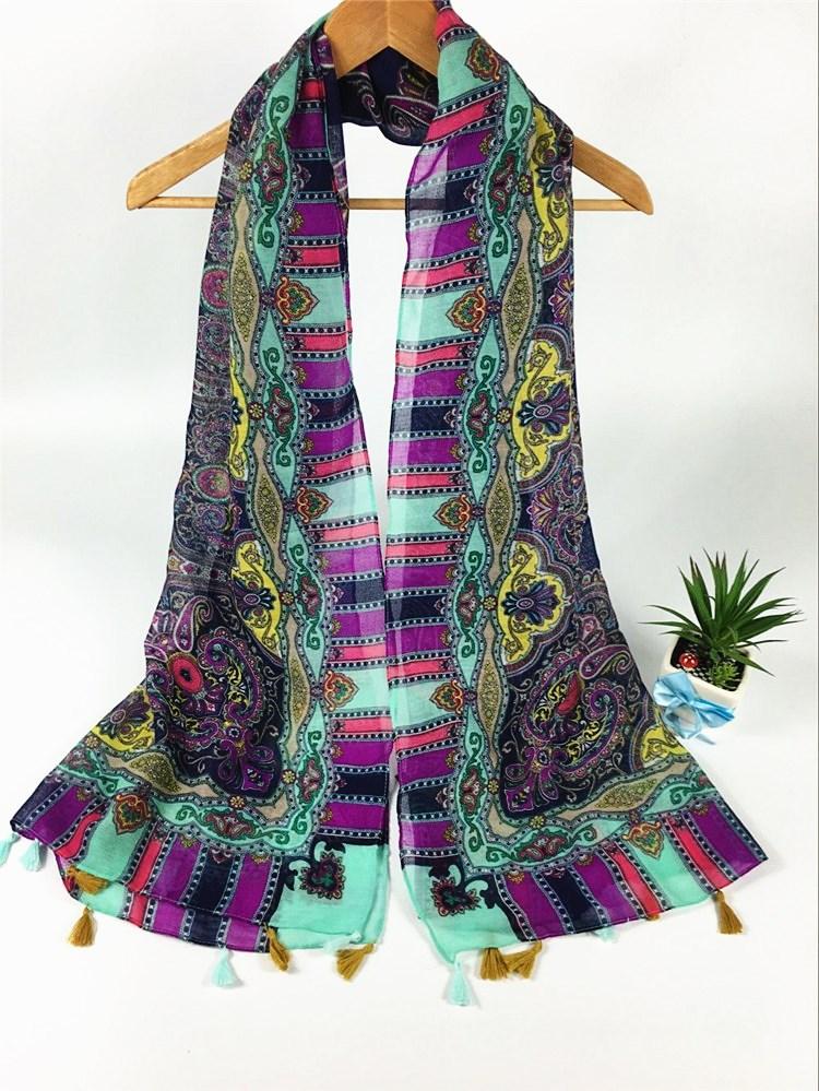 复古风挂须巴厘纱围巾紫色