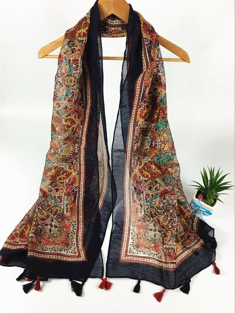 西雅图黑边挂须巴厘纱围巾