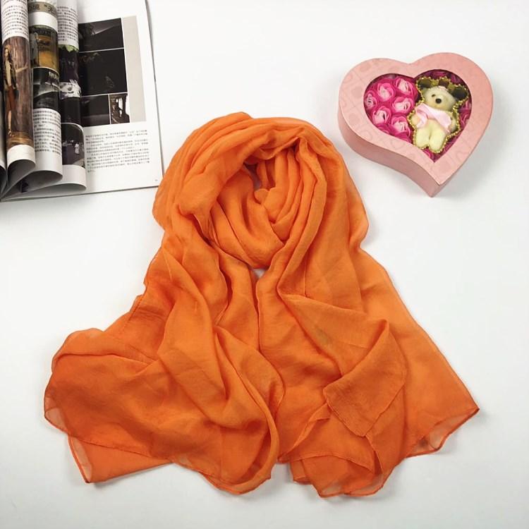 纯色仿真丝丝巾橙色