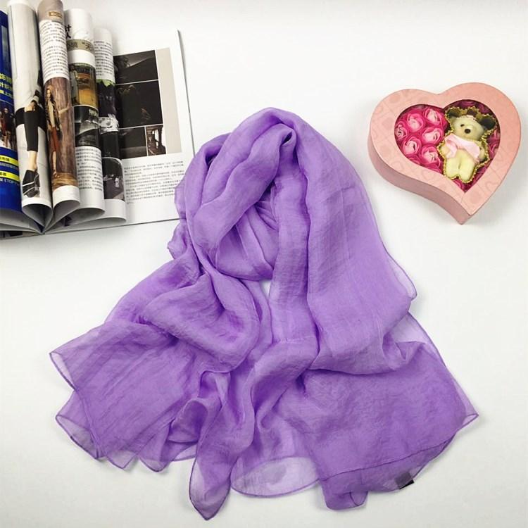 纯色仿真丝丝巾紫色