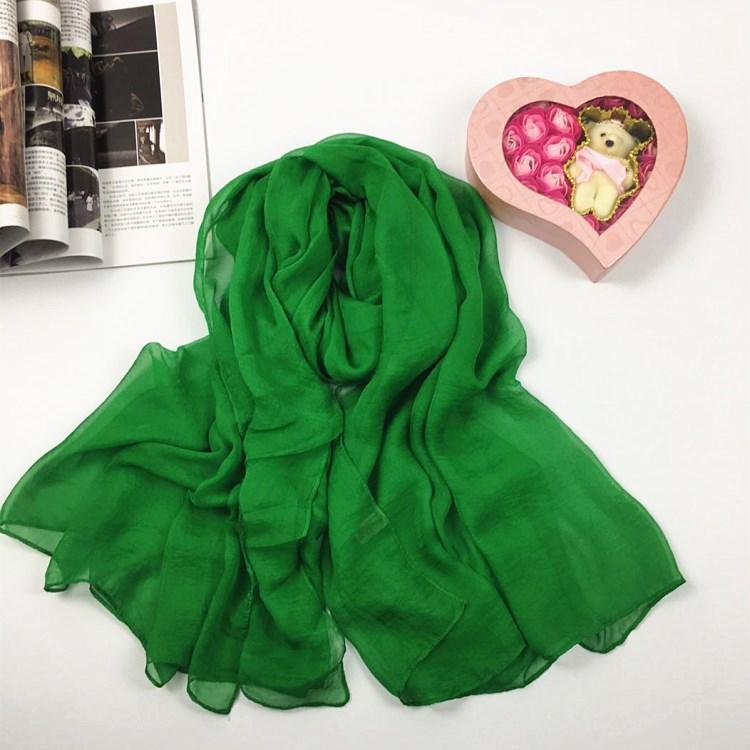 纯色仿真丝丝巾绿色