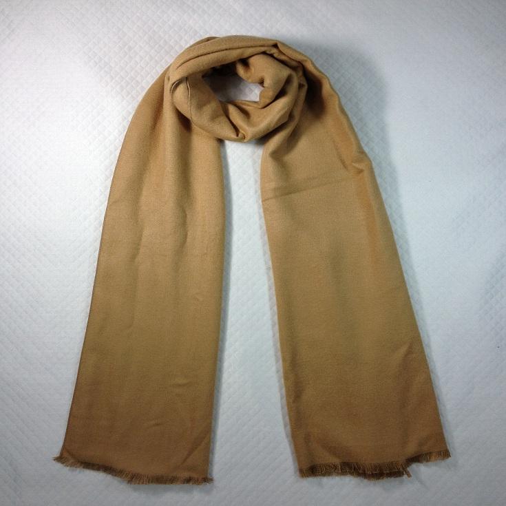 纯色拉绒围巾灰黄