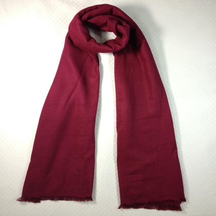 纯色拉绒围巾酒红