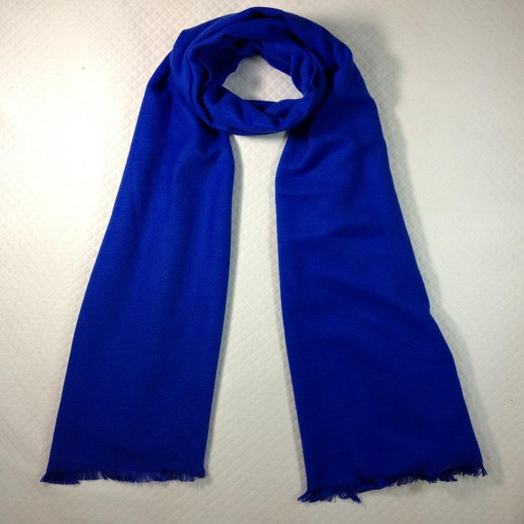 纯色拉绒围巾蓝色
