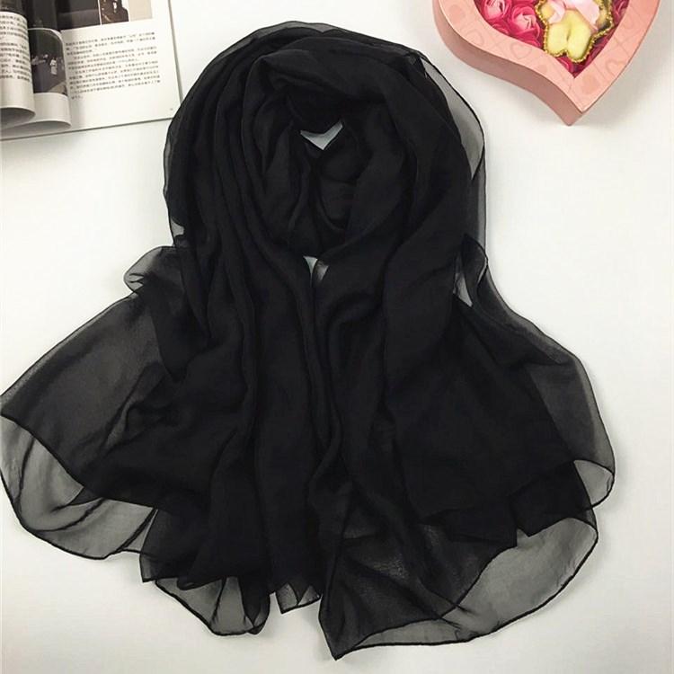 纯色仿真丝丝巾黑色