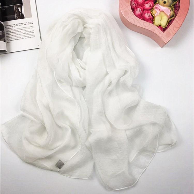 纯色仿真丝丝巾白色