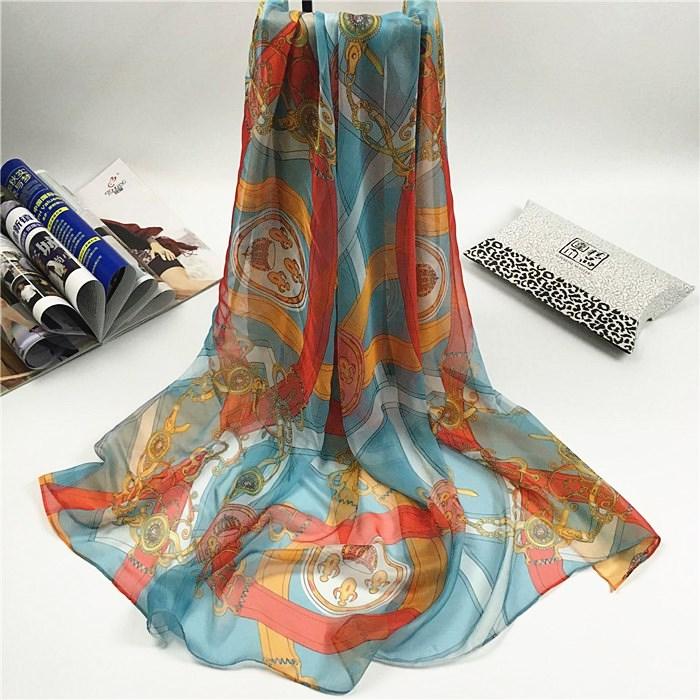 新款链条花雪纺丝巾宝蓝色