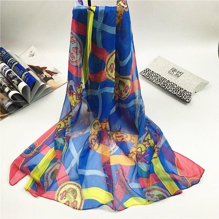 新款链条花雪纺丝巾深蓝色