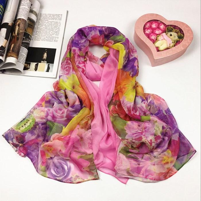 新款蝴蝶系列仿真丝丝巾粉色