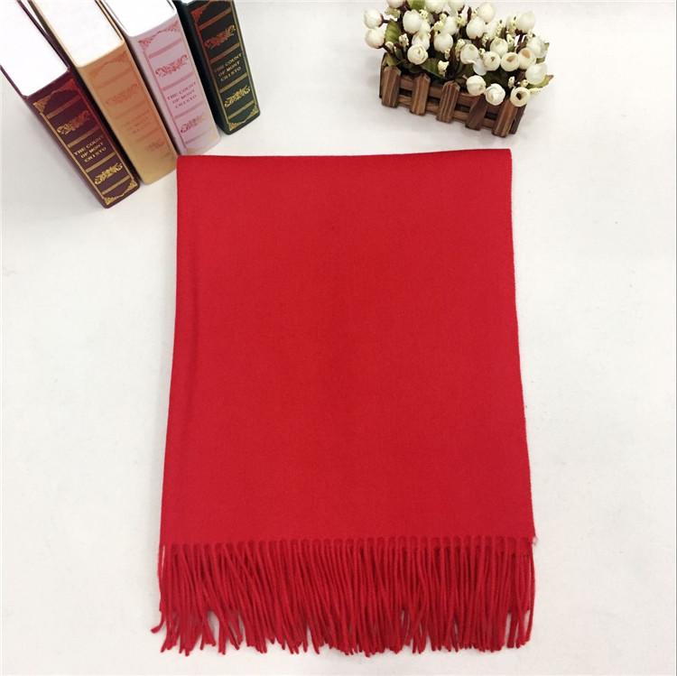 新款秋冬羊毛挂须围巾红色