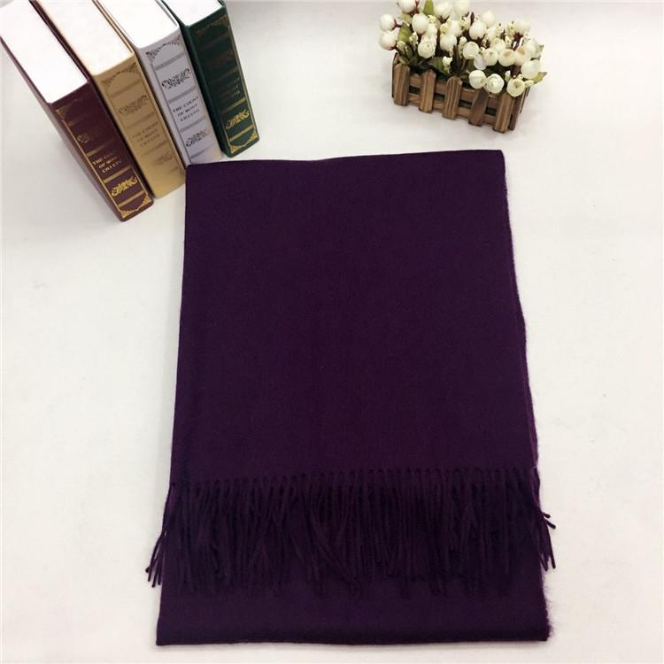 新款秋冬羊毛挂须围巾紫色