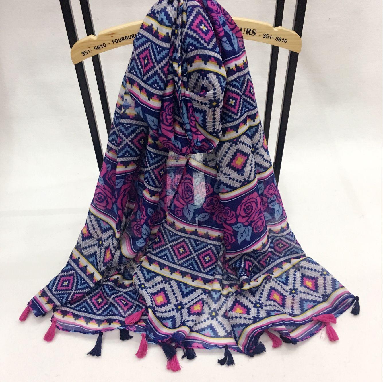 新款紫玫瑰系列巴厘纱围巾